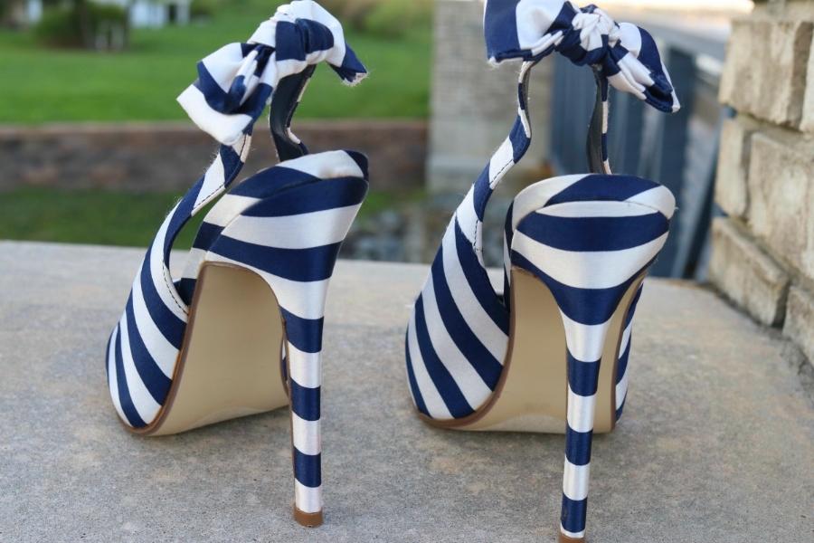 Striped Bow Heels
