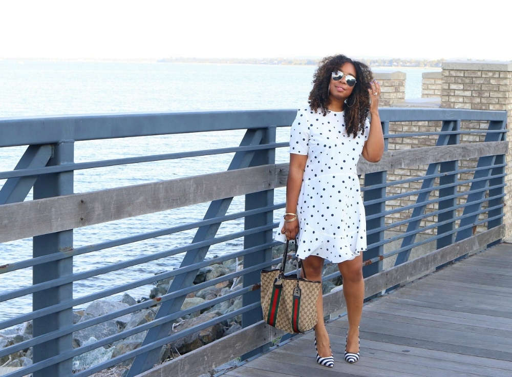 Polka Dot Fit and Flare Dress, Striped Bow Heels, and Gucci Tote