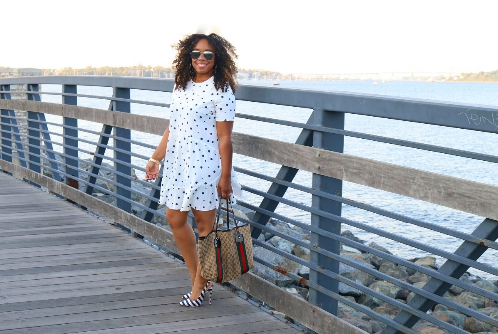 Polka Dot Flare Dress, Striped Bow Heels, and a Gucci Tote
