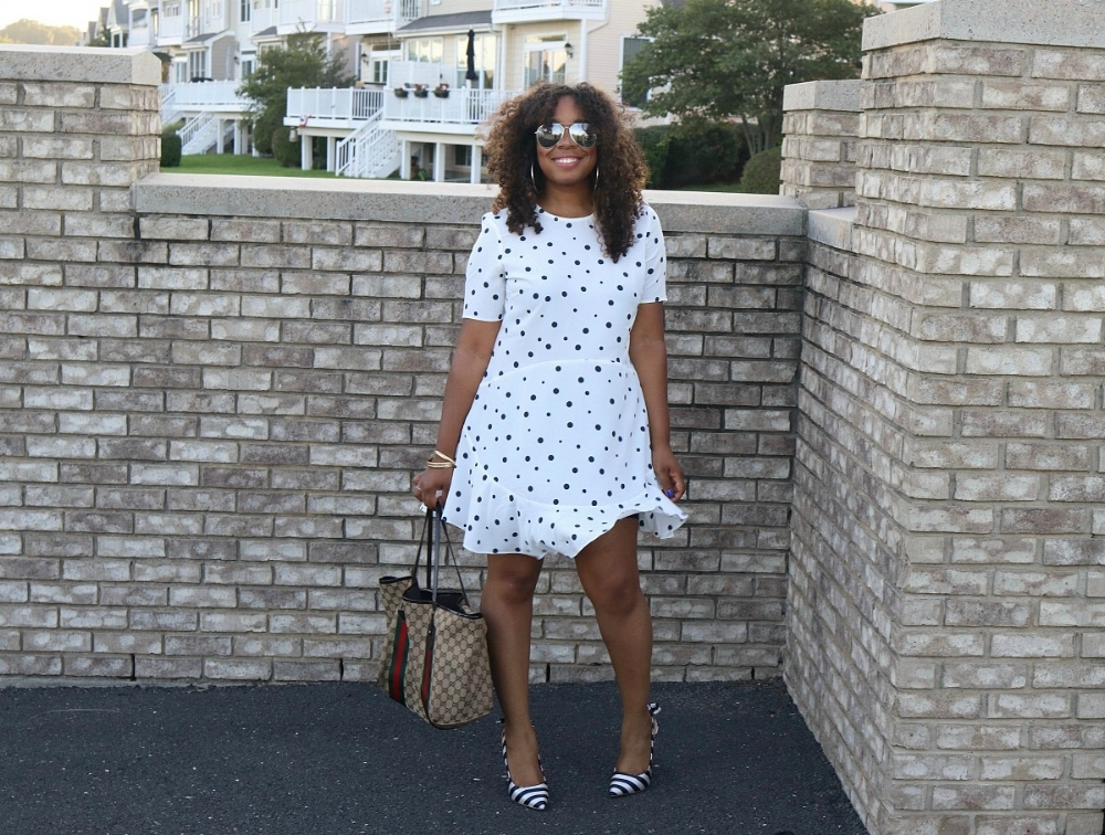 Polka Dot Fit and Flare Dress, Striped Bow Heels, Gicci Tote