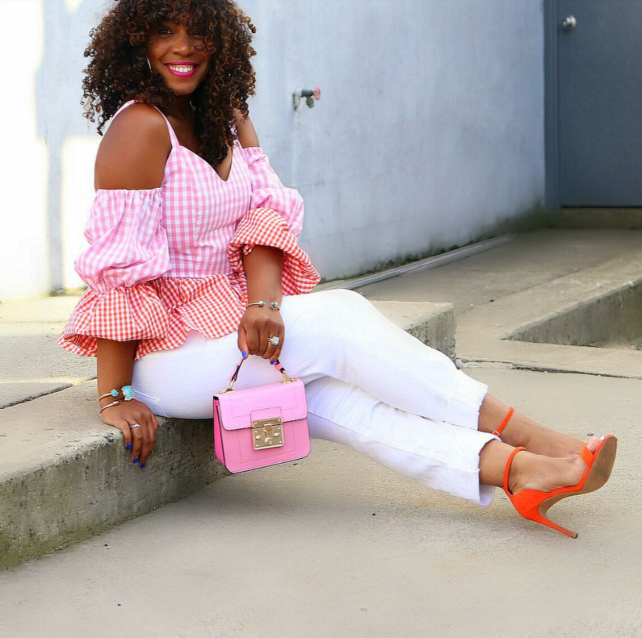 gingham top and white denim with mini pink purse