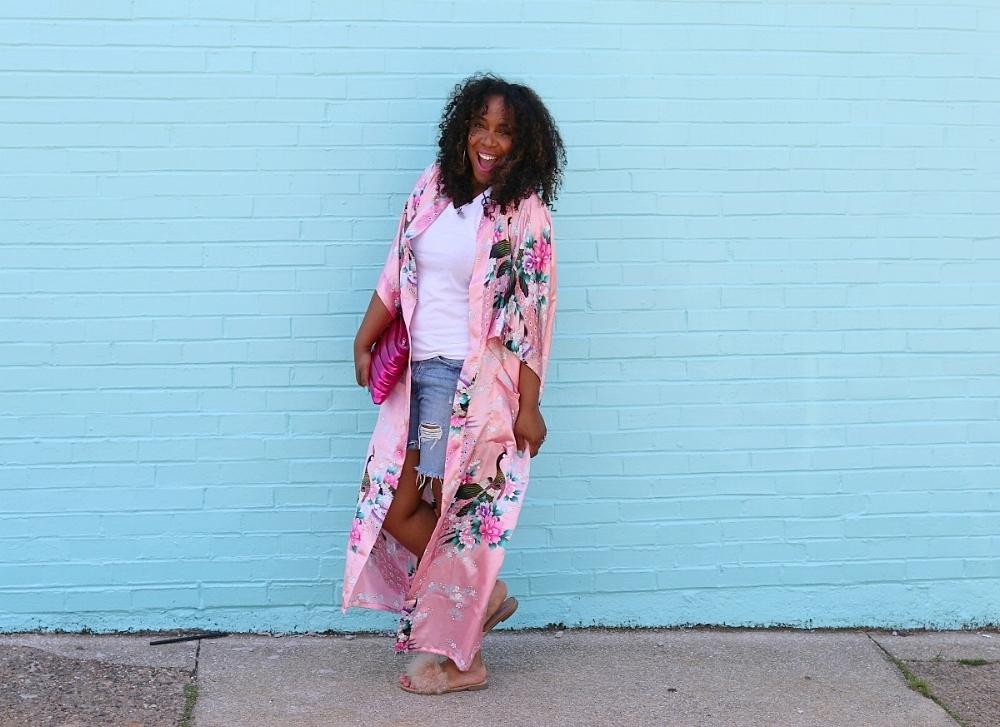Style & Poise: Pink Kimono and Fur Slides