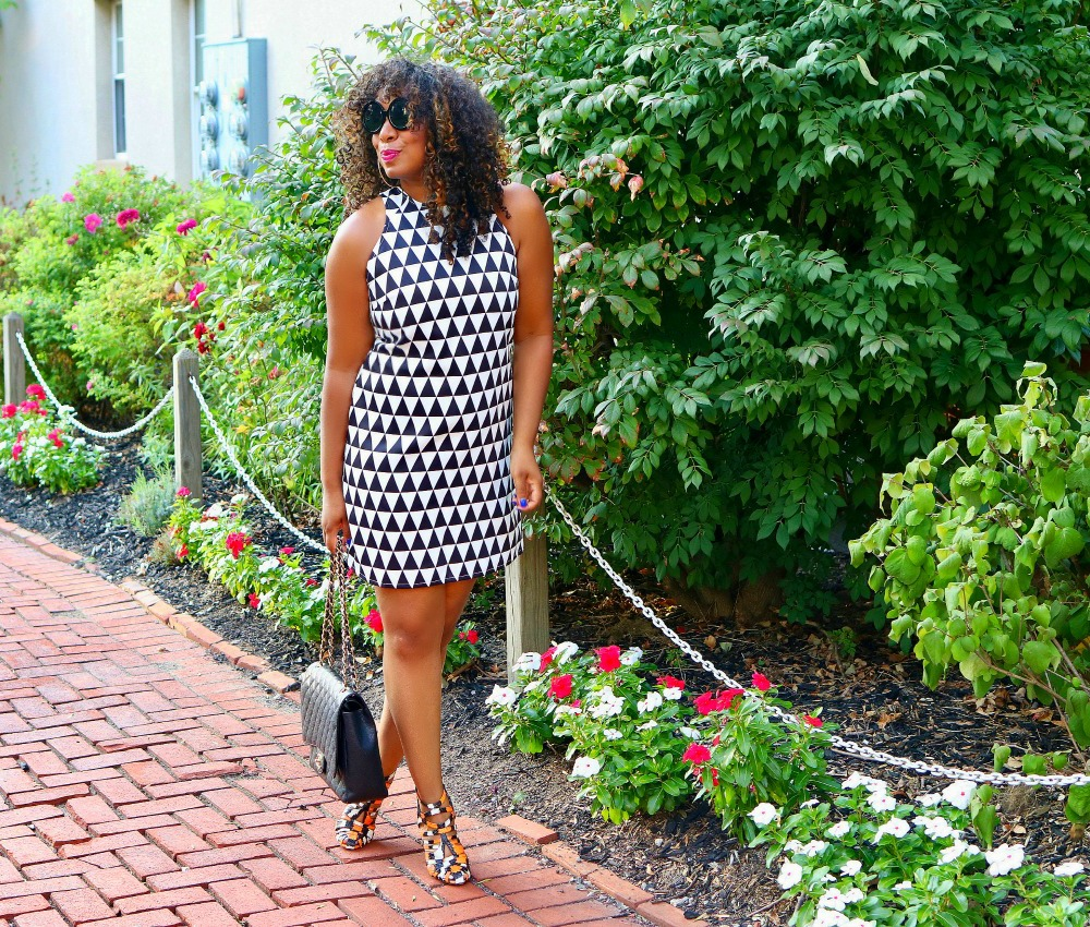 Checkered Print Dress with Snakeskin Heels
