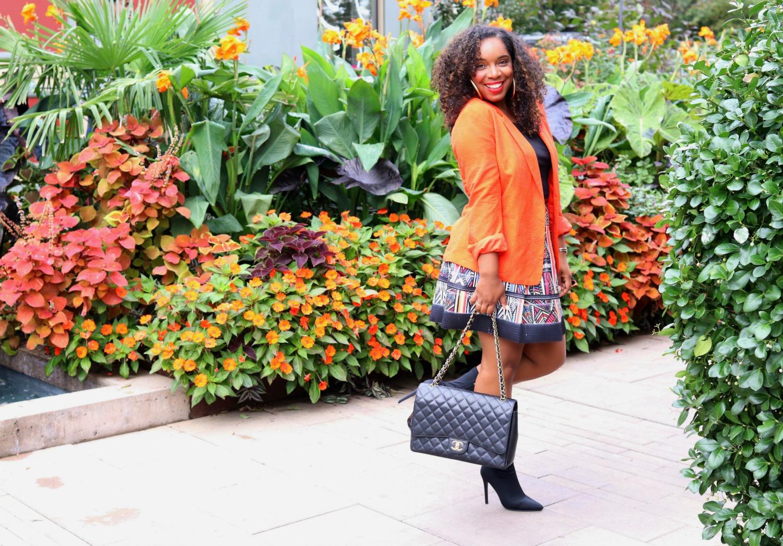 Fall Fashion, Orange Blazer, Tribal Skirt, Sock Boots