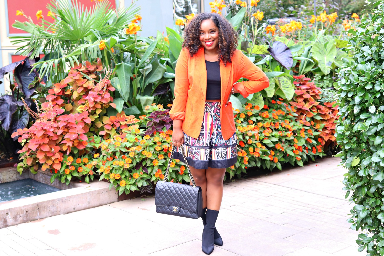 Sock Boots, Orange Blazer, Fit and Flare Skirt