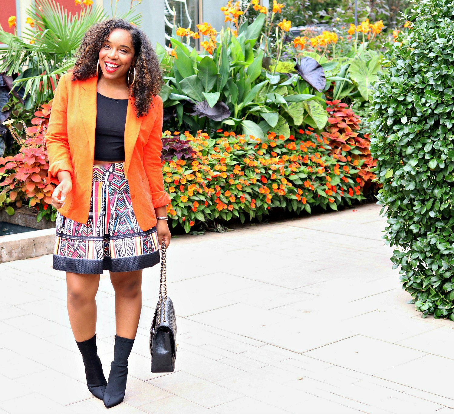 Fall Trend 2017: Sock Boots, Orange Blazer, and Ft and Flare Skirt