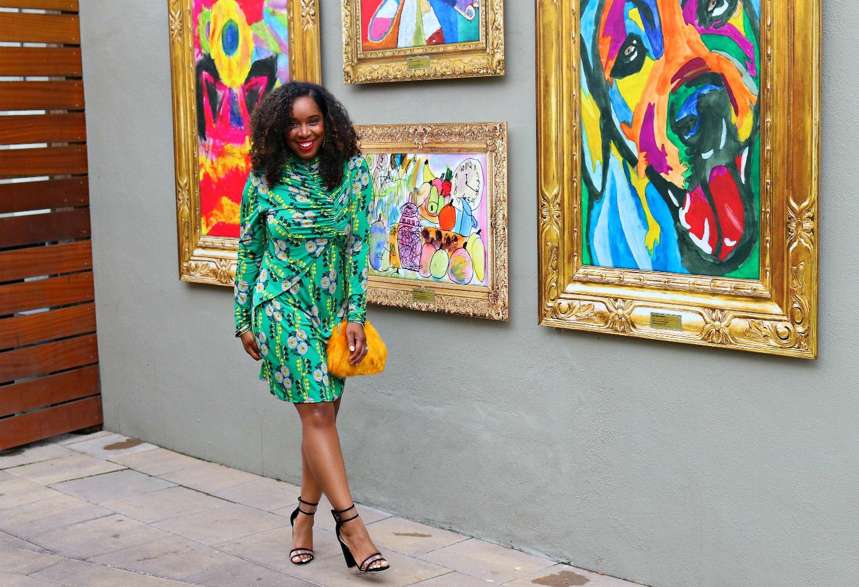 70's Fashion, Floral Retro Dress, Mustard Purse