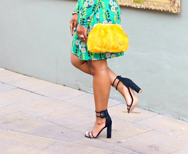 Asos Clear Strap Sandals, Mustard Faux Fur Clutch