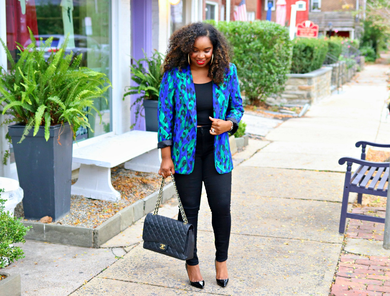 Leopard Blue Blazer, Crop Top, Black Skinnies, Black Pigalle