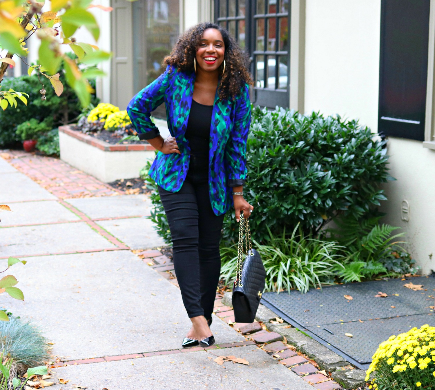 Blue Thrifted Blazer, Black Skinnes, Crop Top, Chanel Purse, Christian Louboutin Pigalle