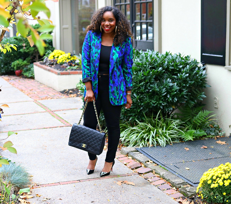 Vintage Leopard Blazer, Black Skinnies, Chanel Purse, and Pigalle's