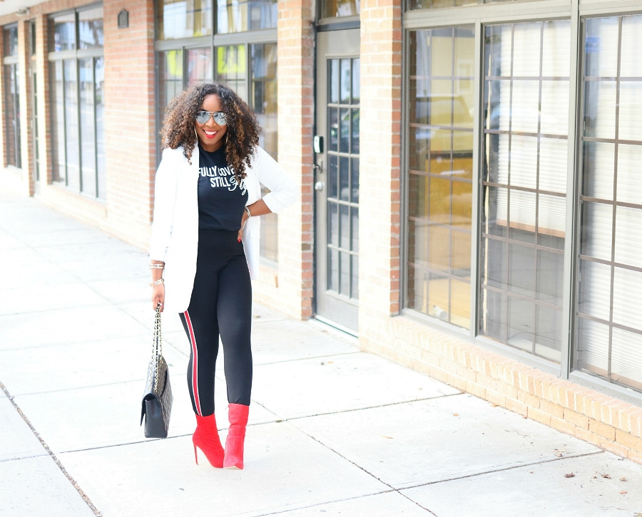 Red Boots, Graphic Tee, Athleisure Style