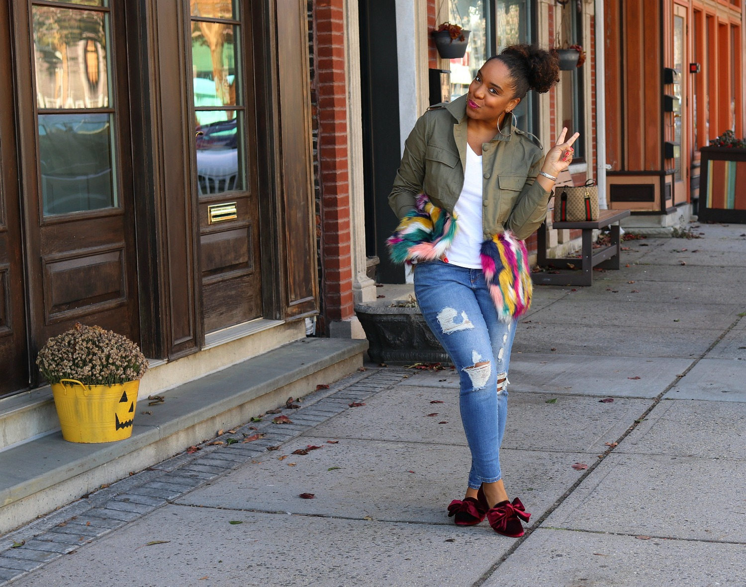 Multi-Colored Faux Fur Jacket, Distressed Denim, Bow Flats