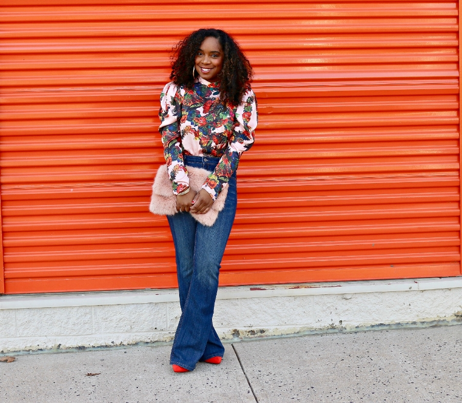 Floral Blouse and Wide Leg Denim