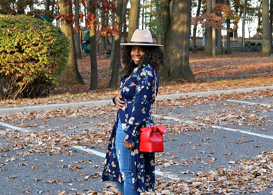 Wool Fedora and Floral Shirt Dress