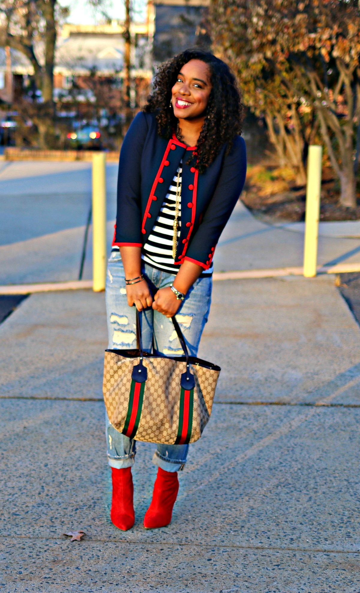 Gucci Tote, Red Booties, Distressed Denim, Military Chic Blazer