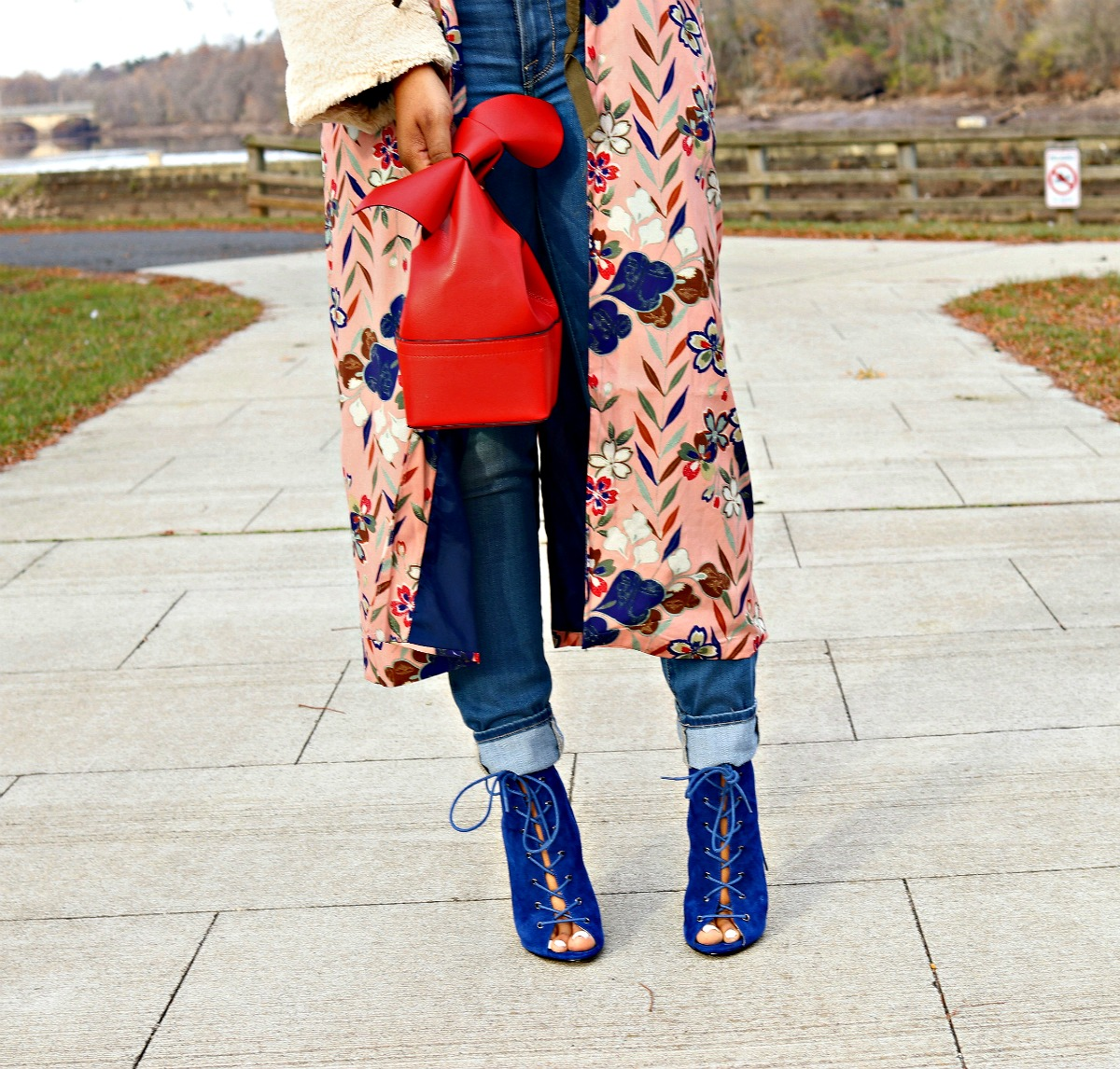 Red Bow Purse, Blue Booties