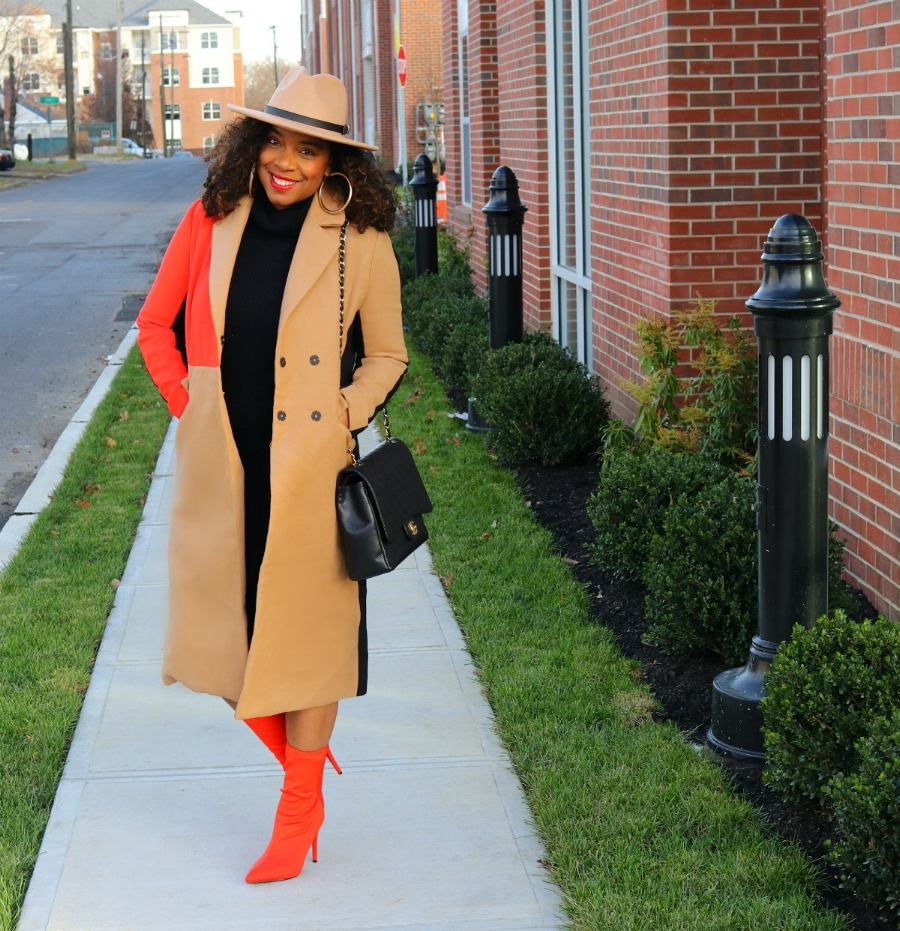 Statement Coat and Orange Booties