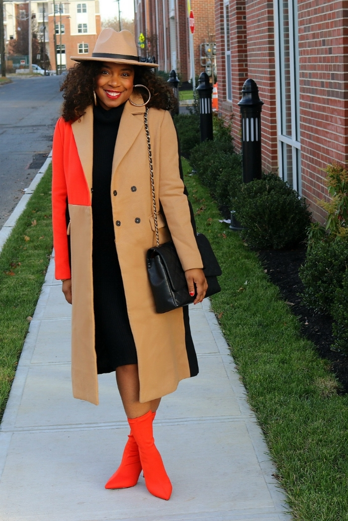 Orange Color Block Coat