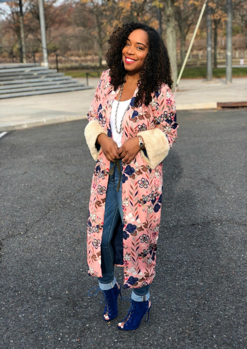 Floral Kimono with Fur Cuffs and Blue Booties