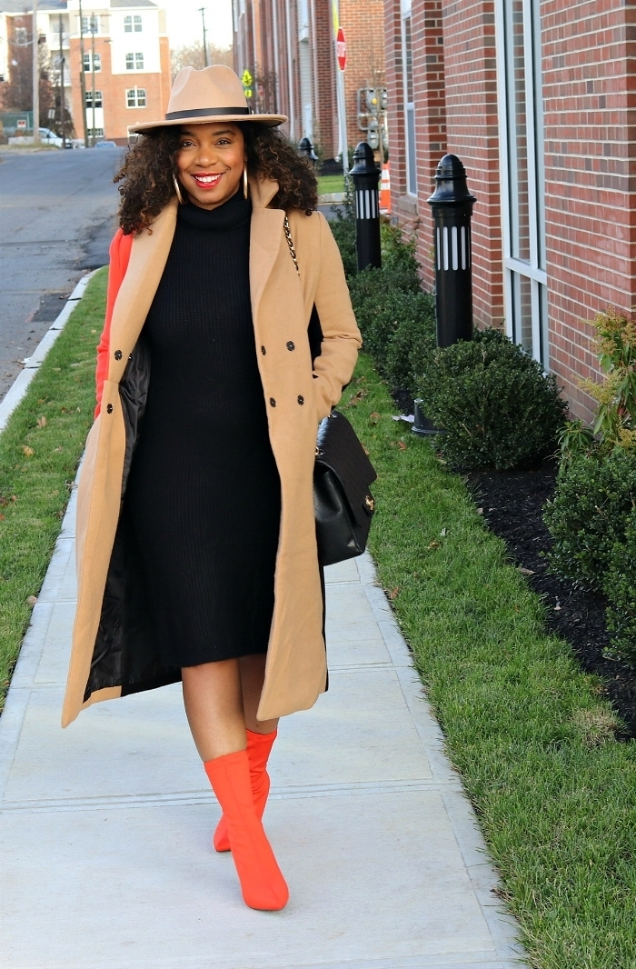 Sweater Dress and Orange Sock boots