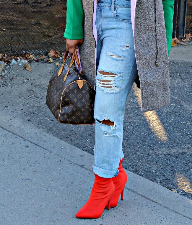 Distresed Boyfriend Jeans and Orange Booties