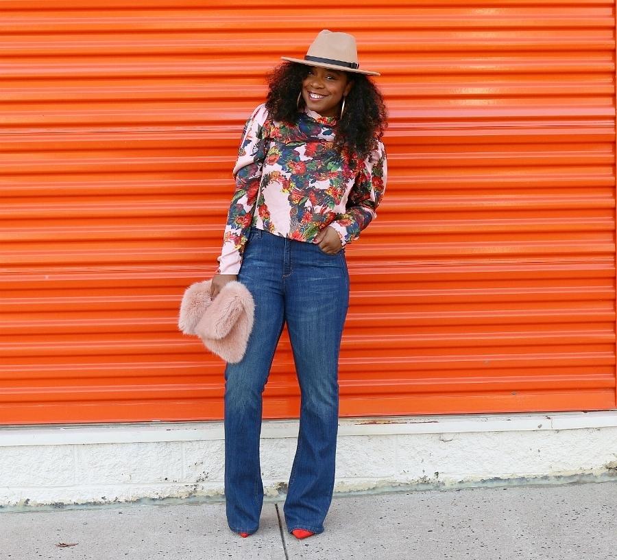 Fall Trends: Floral H&M Blouse, Wide Leg Denim, Wool Fedora