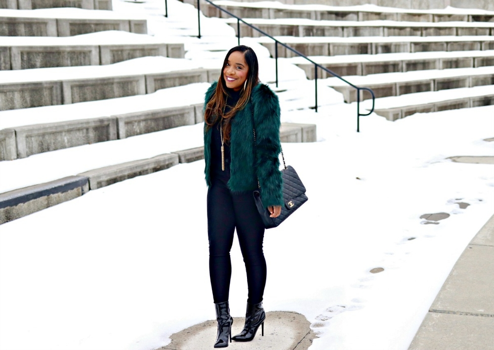 Green Faux Fur, Black Patent Leather Booties