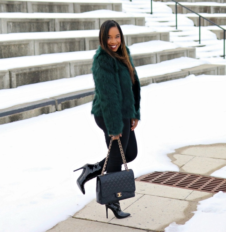 Green Faux Fur, Patent Leather Booties, All Black Chic