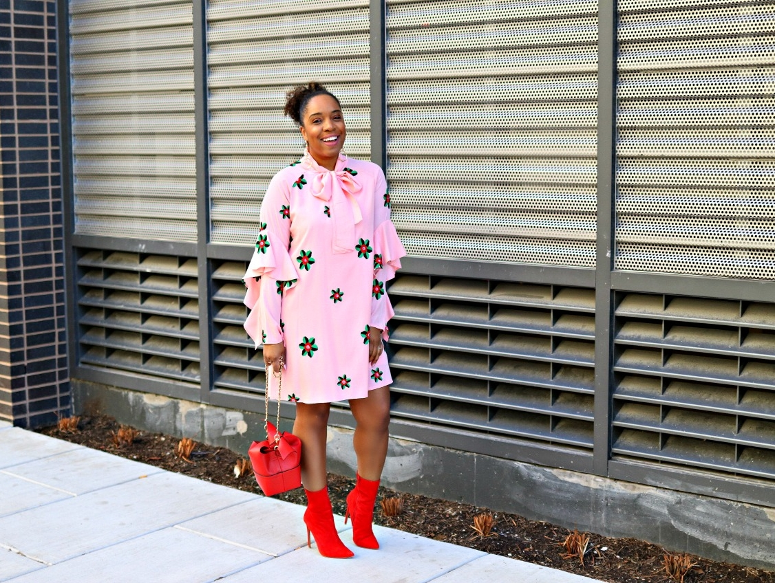 Pink Smock Dress, Red Booties, Bow Purse, V-day Inspo