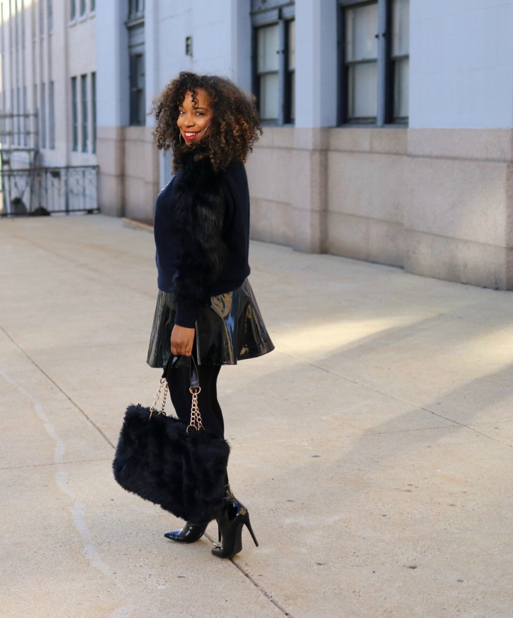 patent leather and faux fur