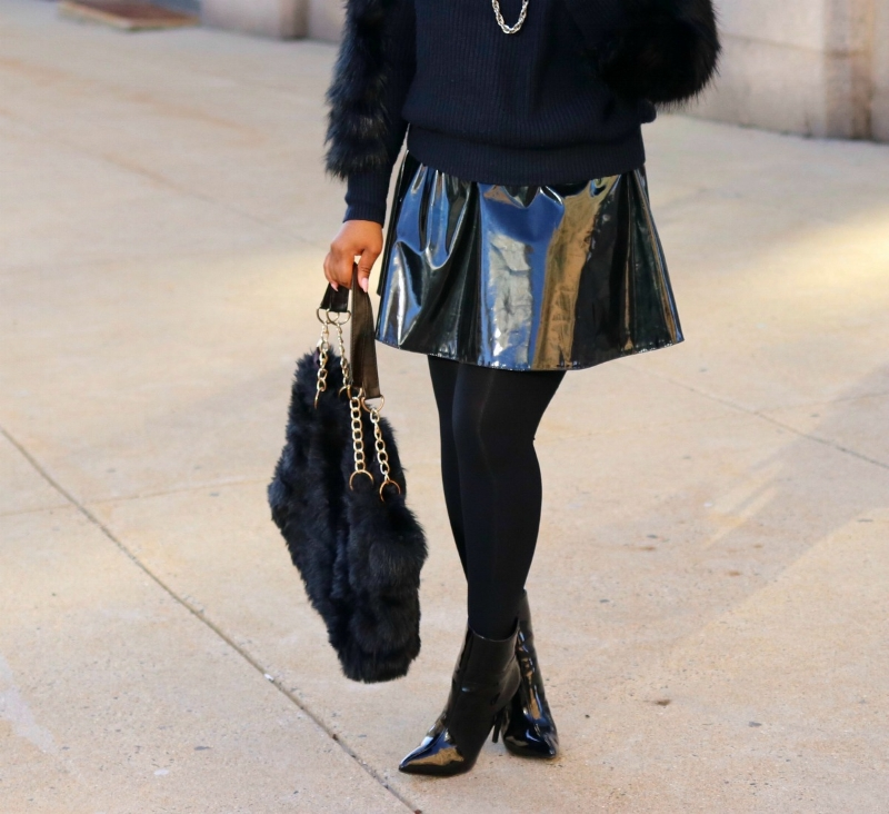 Patent leather skater skirt with patent leather booties