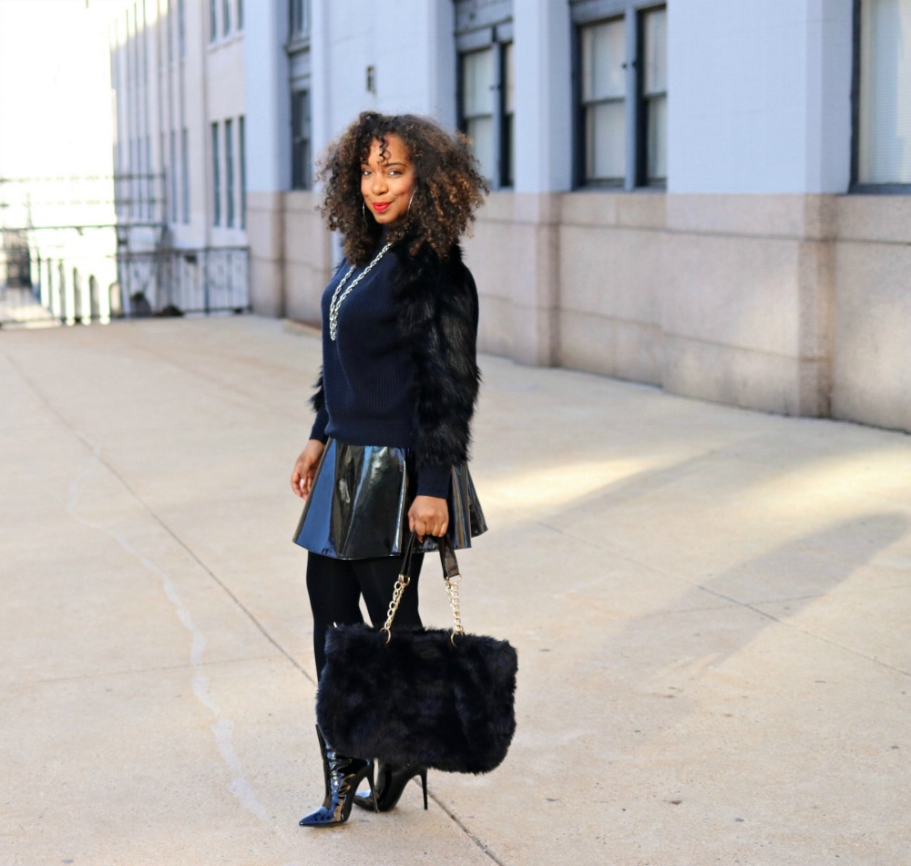 Style & Poise: Patent leather skater skirt, fur sleeve sweater, faux fur purse