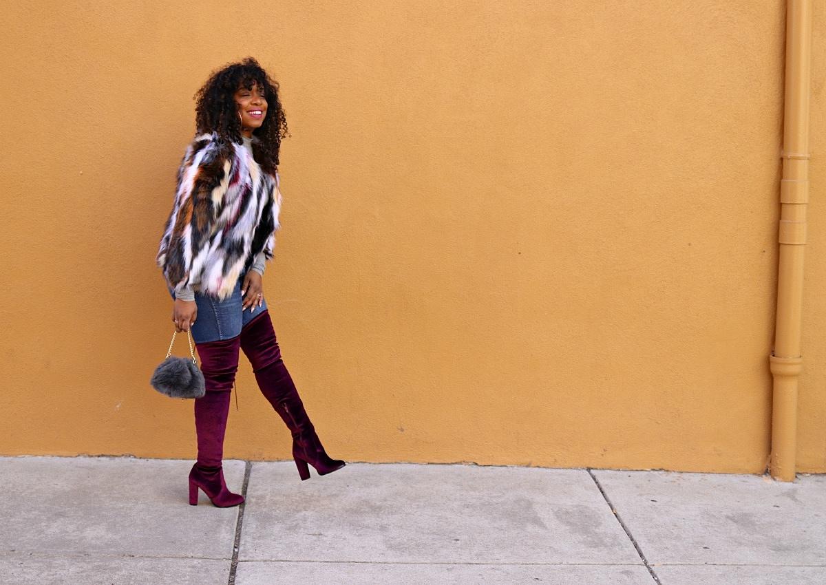 Burgundy OTK Boots, Winter Fashion