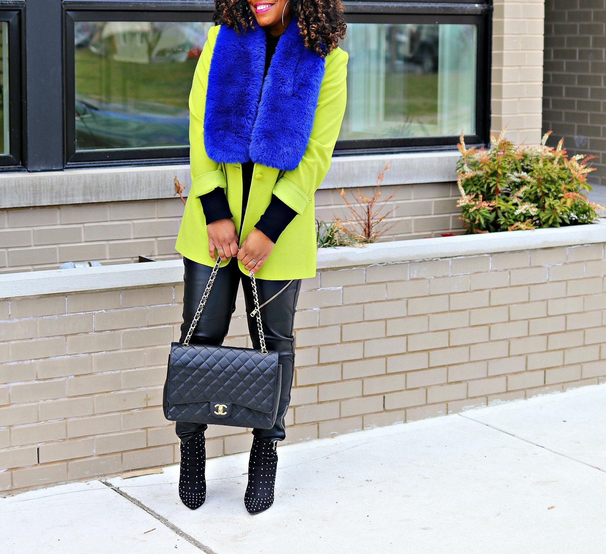 Neon Green Blazer, Blue Fur Scarf, Leather Pants