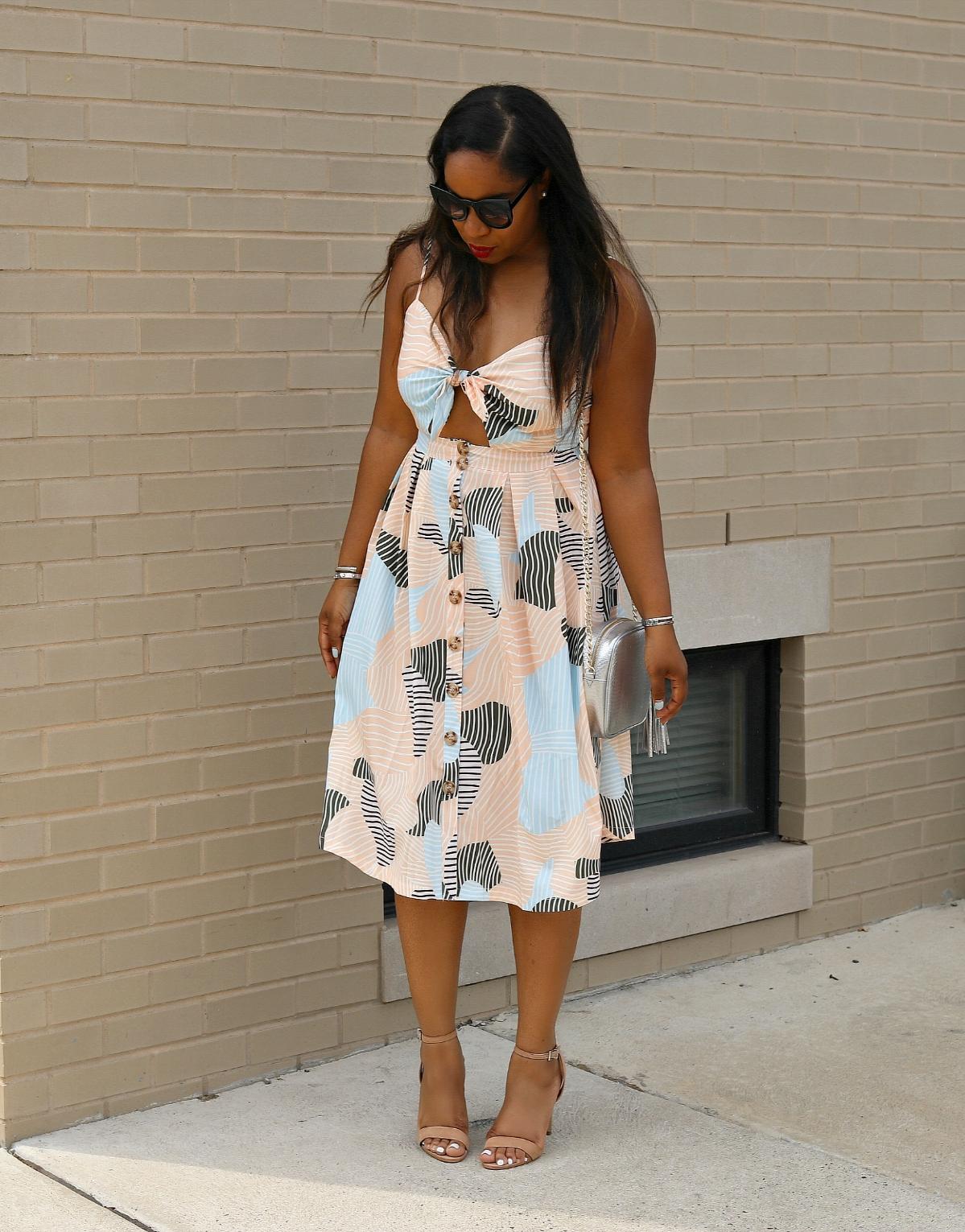 Peek-a-boo Midi Dress, Abstract Print