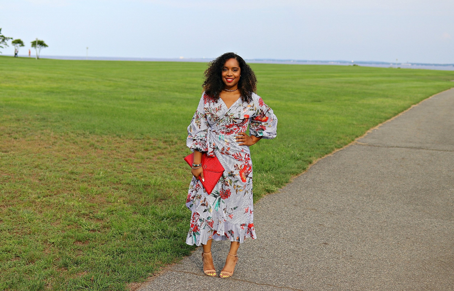 Floral and Striped Ruffle Midi Dress