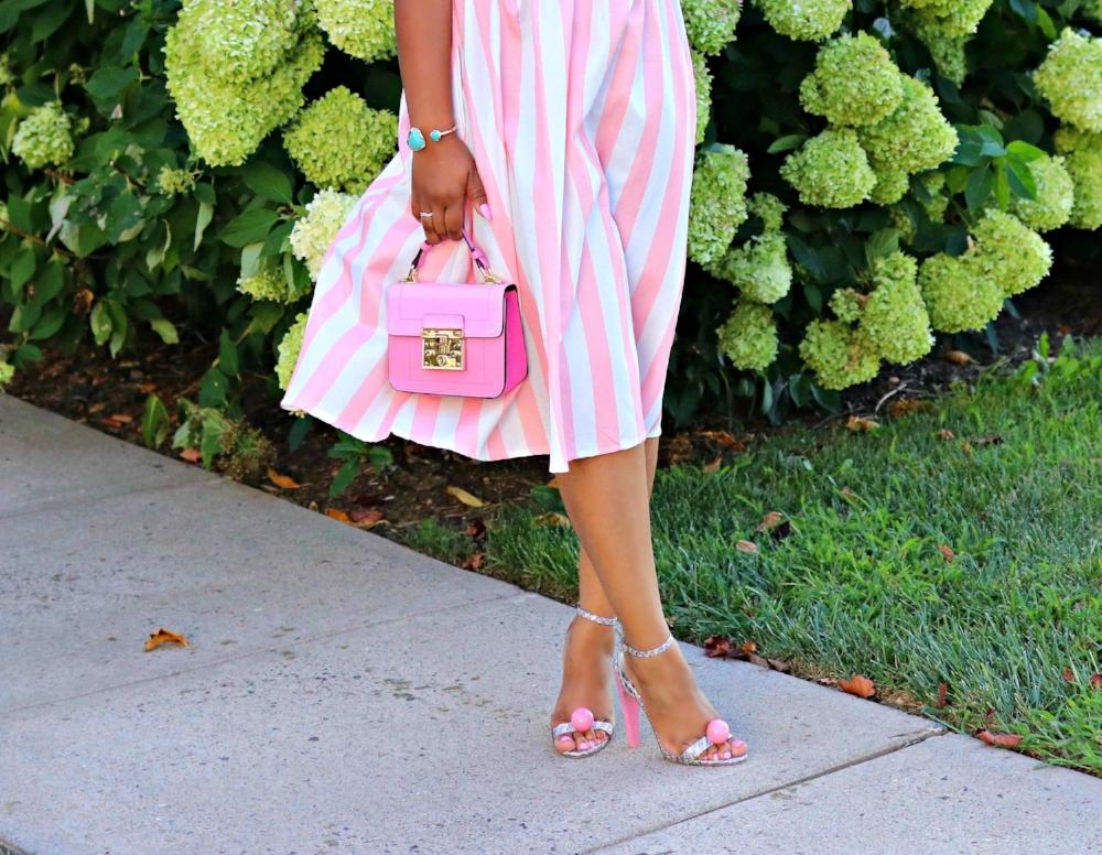 Pink Accessories, Gumball Heels, Pink Purse, Striped Dress
