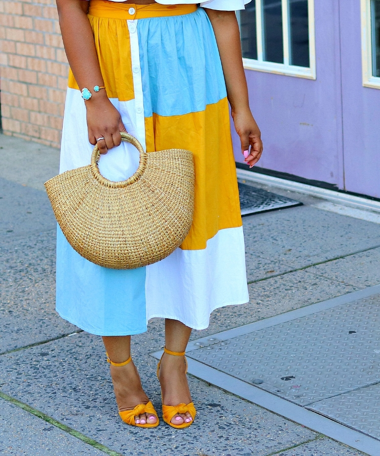 Colorblock Midi Skirt, Straw Purse, Bow Sandals, Summer Fashion