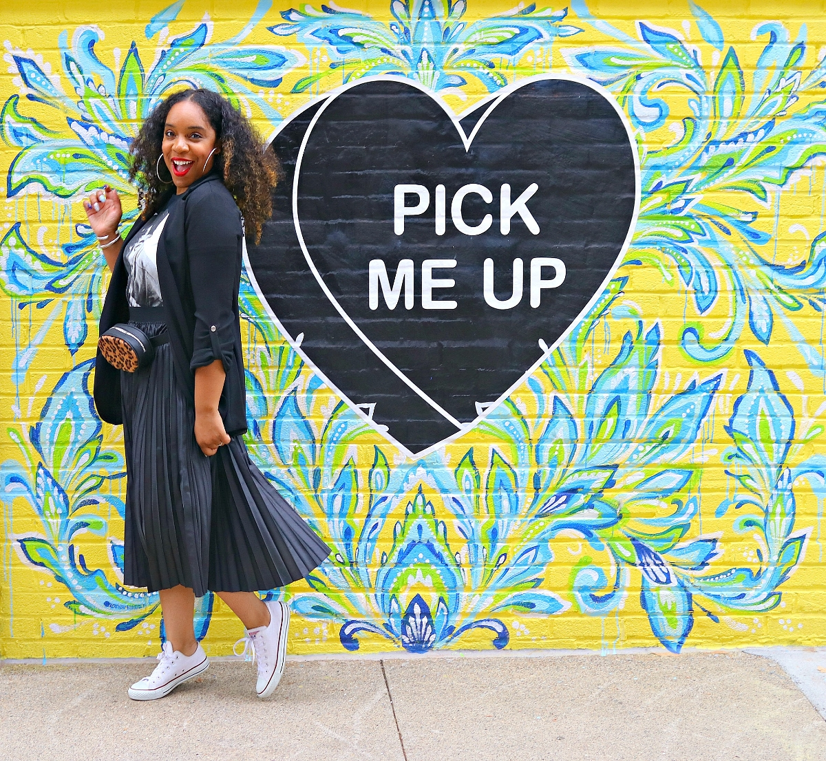 Pleated Midi Skirt and Blazer with chuck's