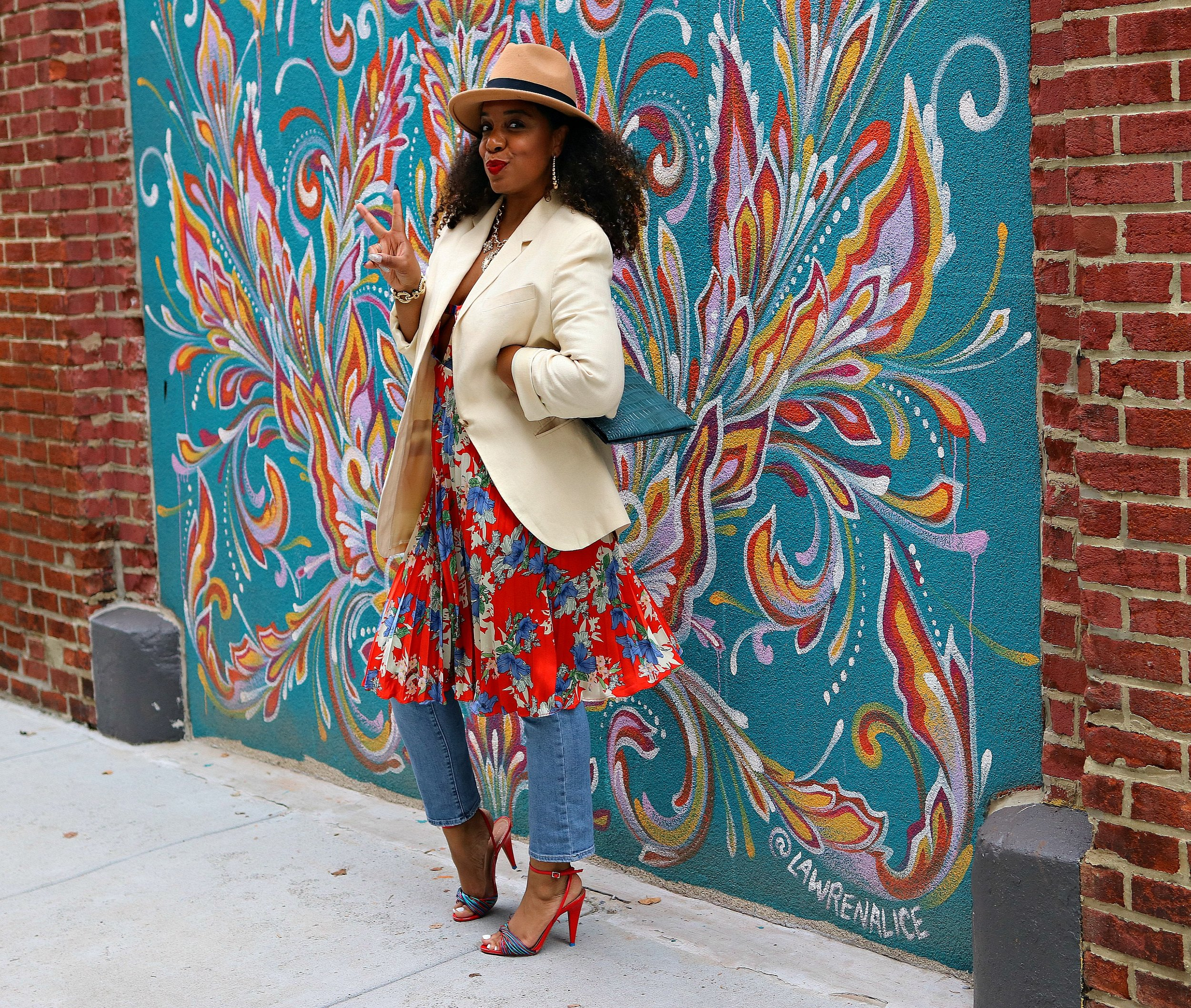 Floral Dress and Linen Blazer
