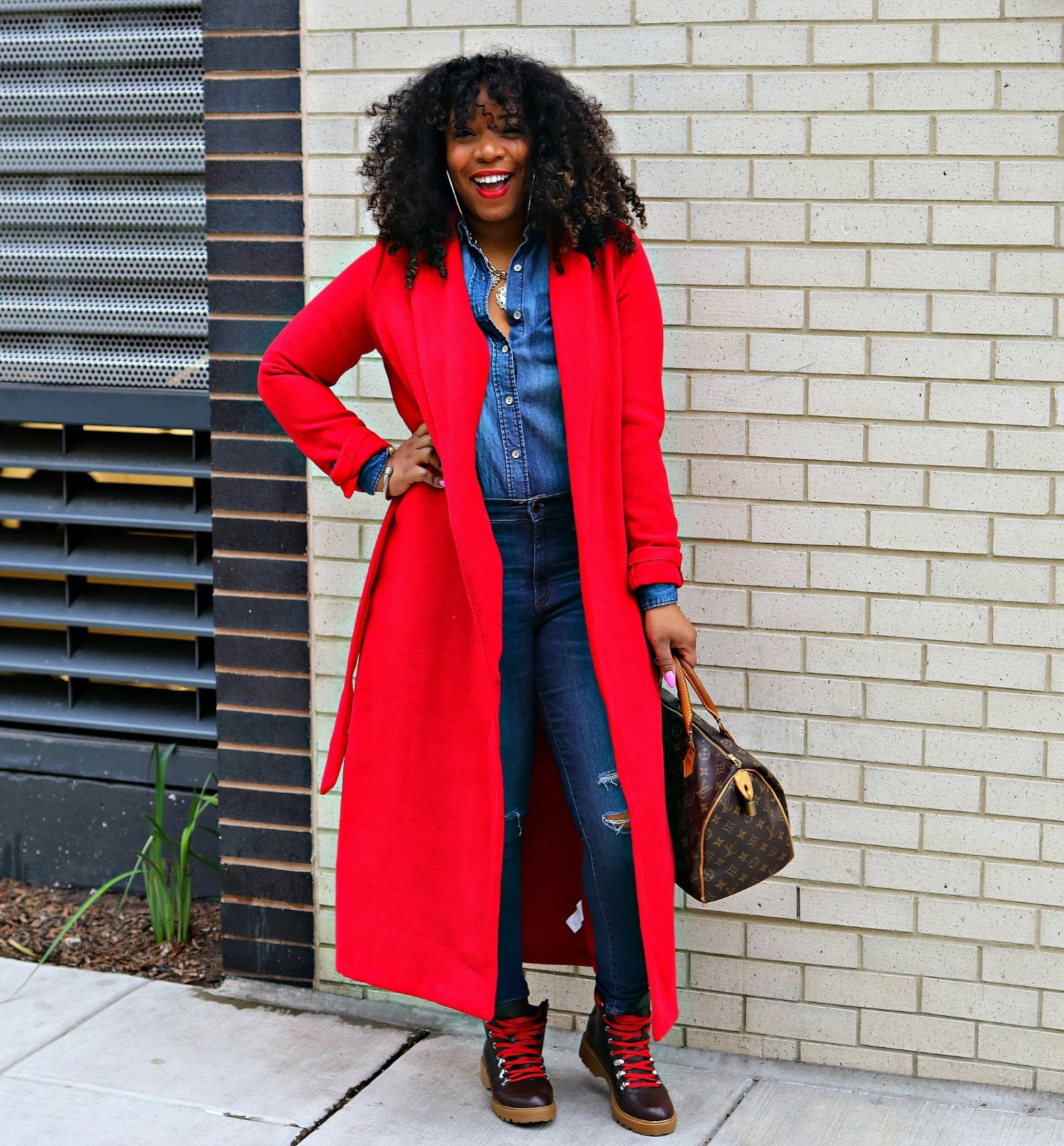 Red Trench Coat, Hiker Boots, Denim on Denim