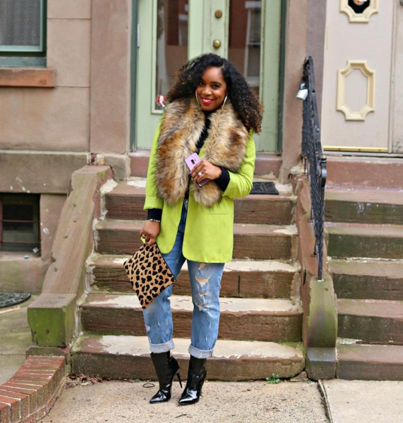 Cricket Wireless, Smile on, Boyfriend Jeans, Faux fur scarf, leopard clutch, patent booties