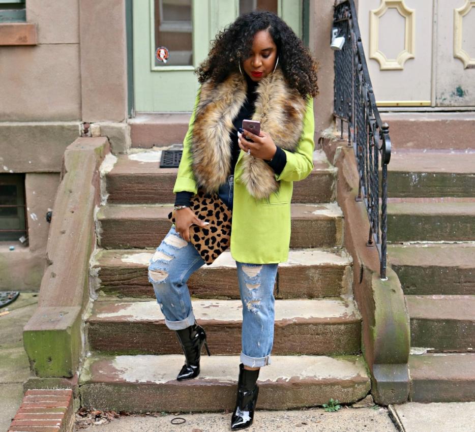 Cricket Wireless Influencer, Green Blazer, Winter Fashion