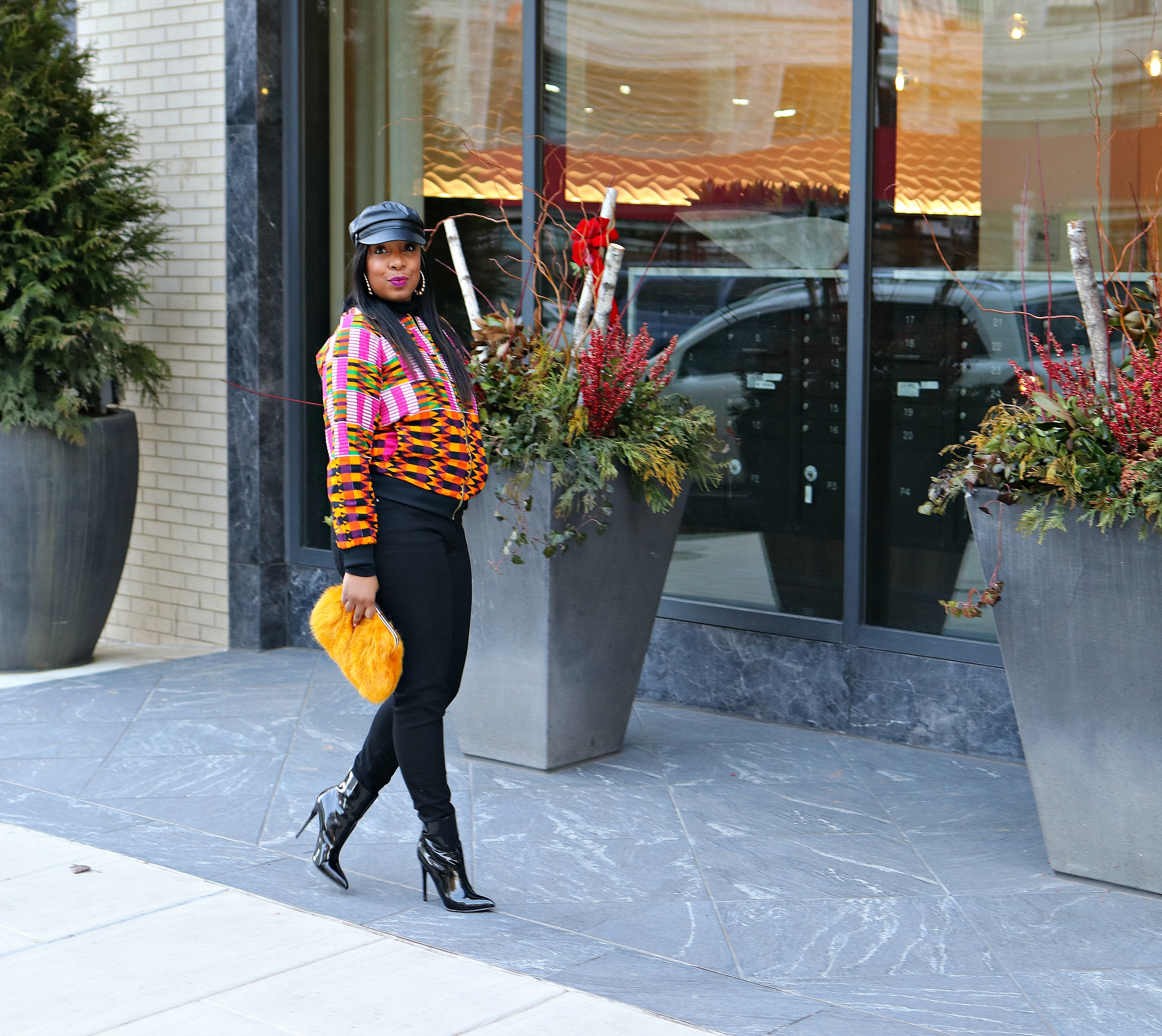 Milk boy hat, patent leather booties, african print jacket