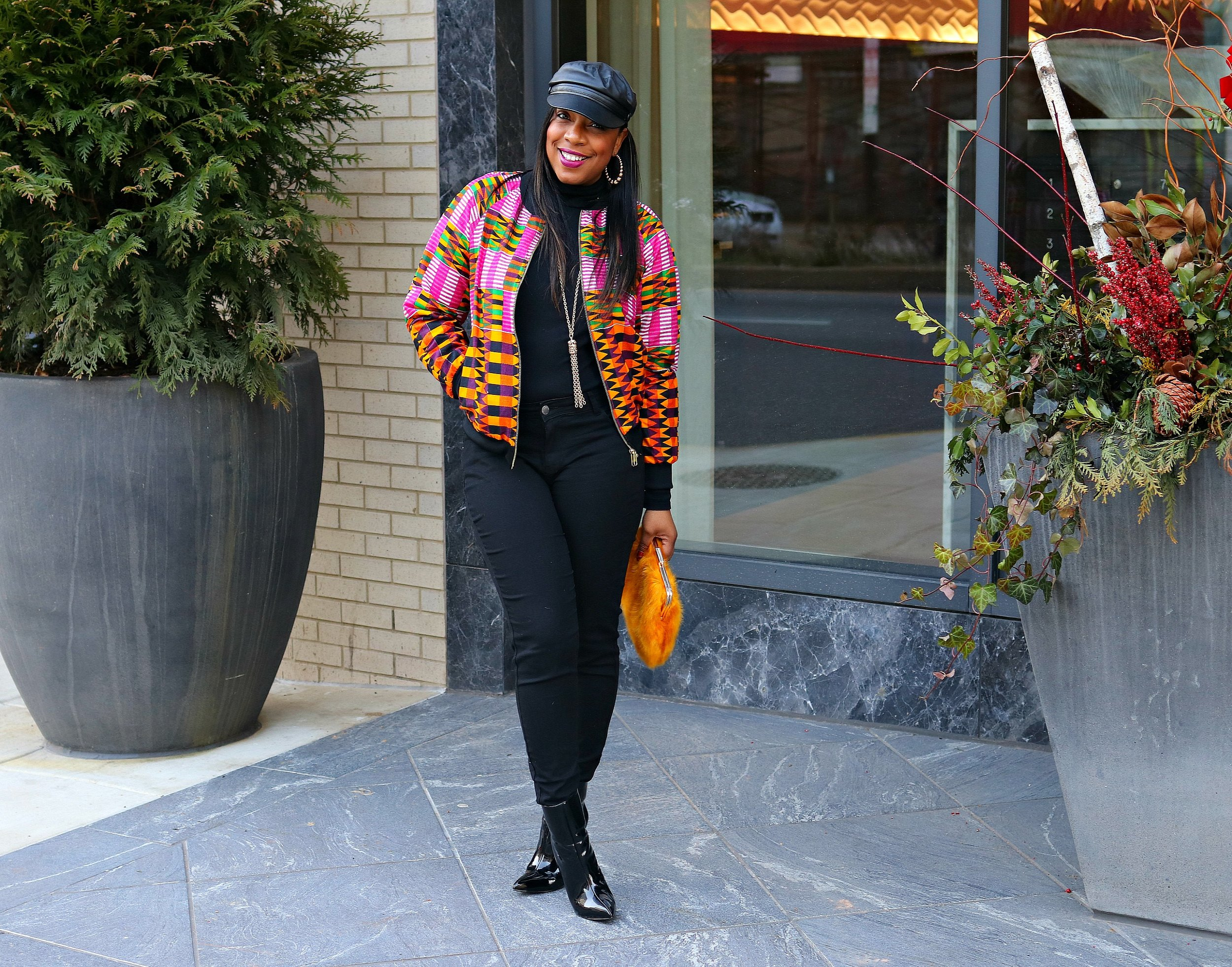 All Black Winter Fashion with a pop of print