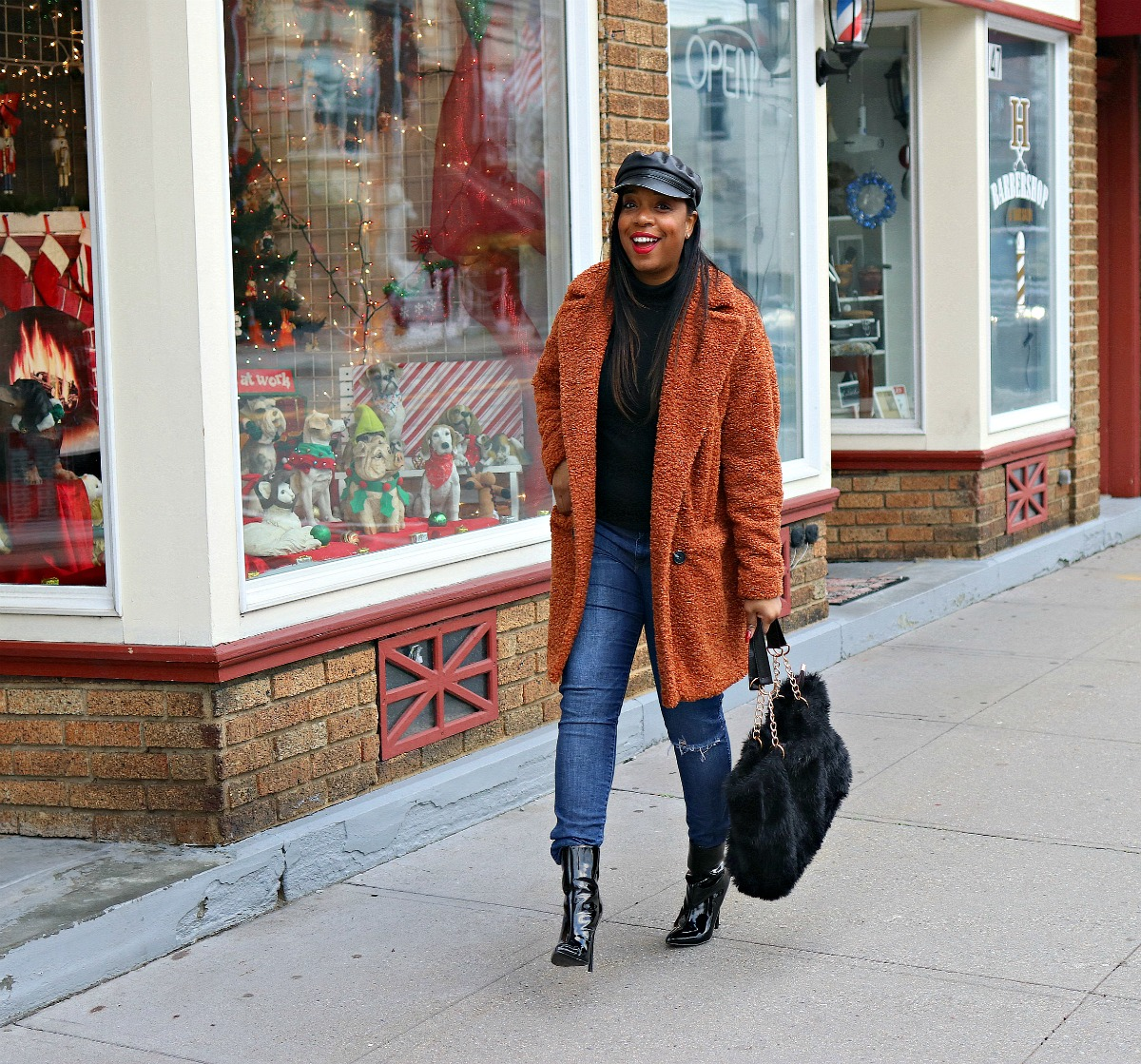 winter textures; fashion; patent booties