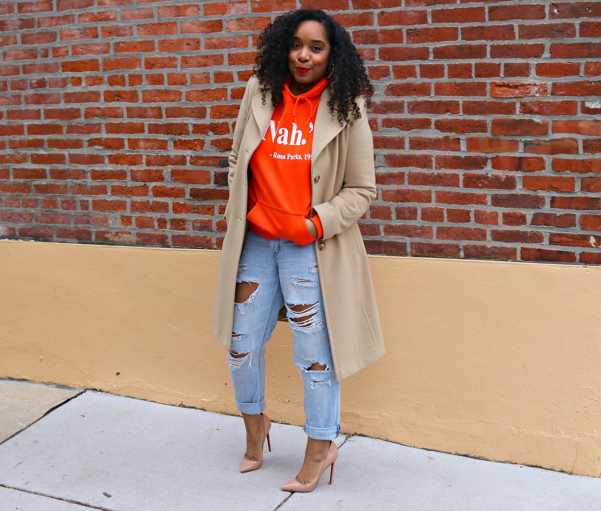Camel Coat, Graphic Sweatshirt, Distressed BF Jeans