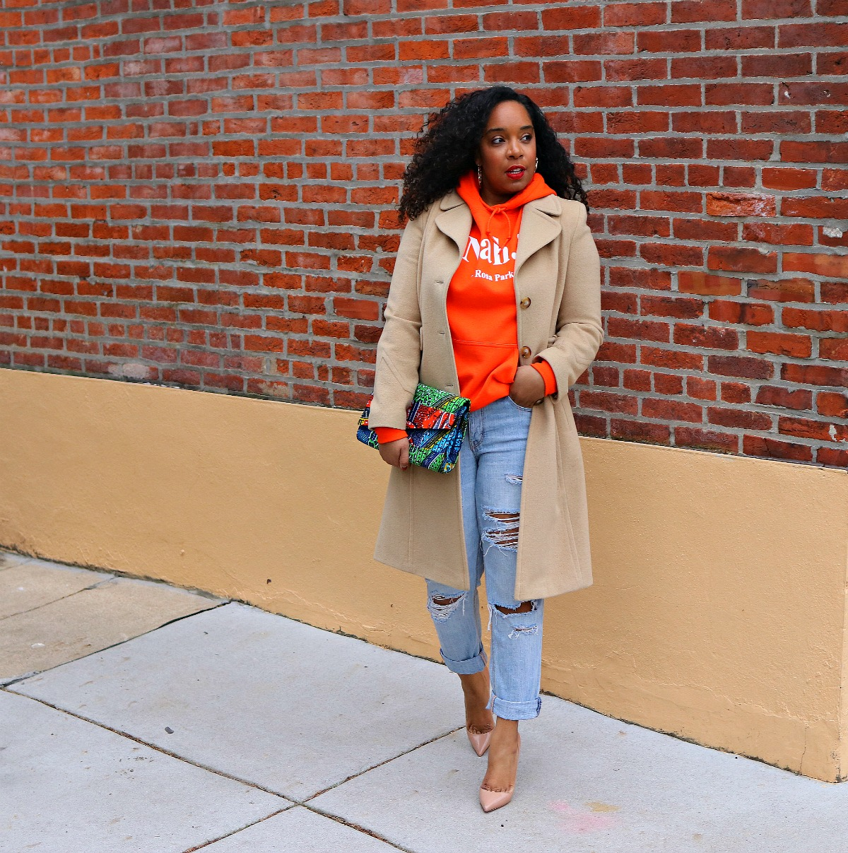 Rosa Parks, Rosa Parks sweatshirt, distressed denim, african clutch, bamboo earrings