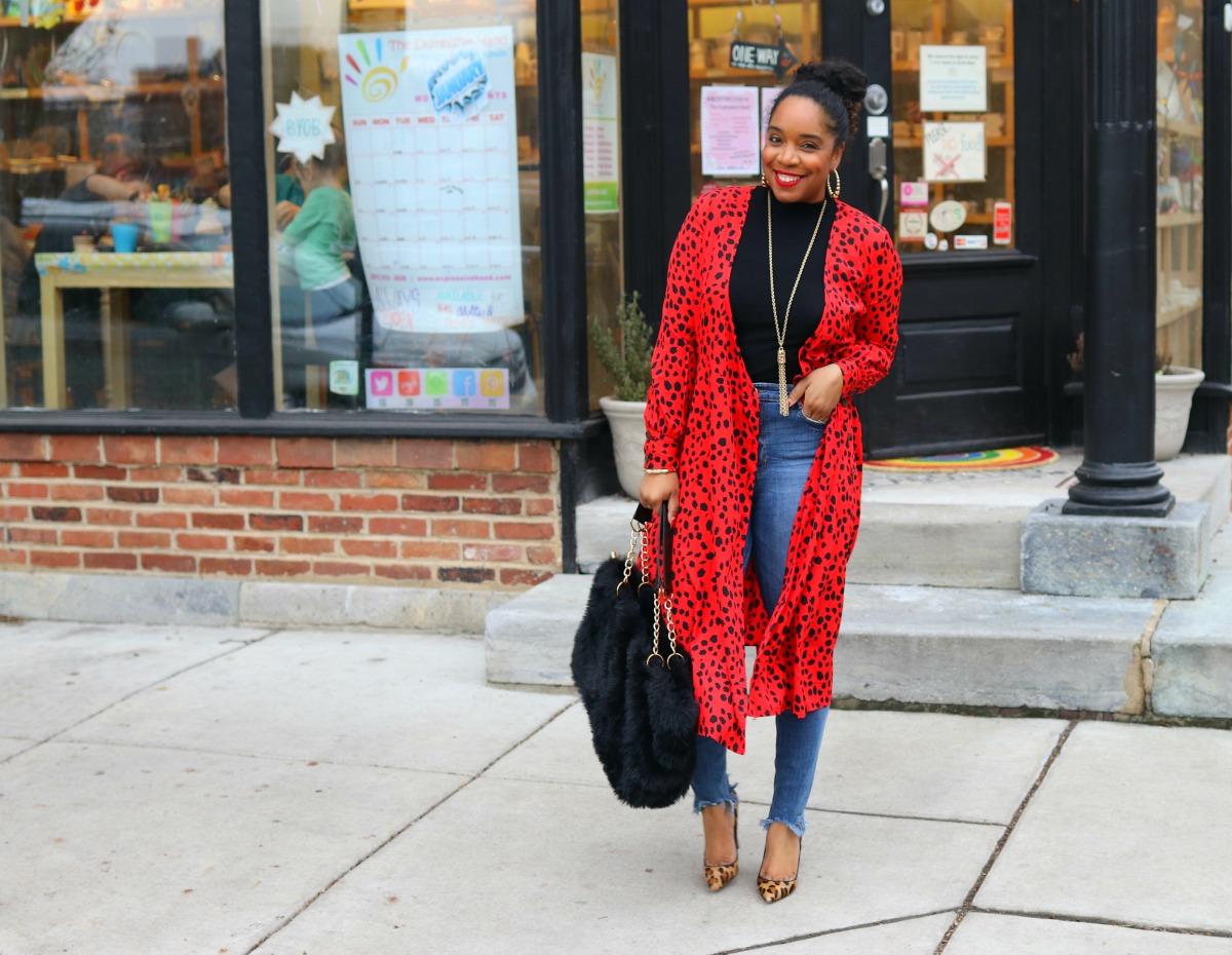 Winter Fashion, red dress, print mixing, leopard